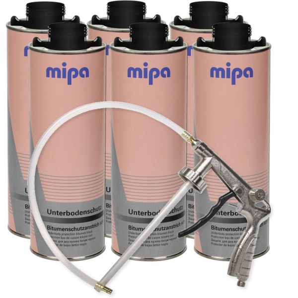 Unterbodenschutz Set 6x 1L Mipa UBS Bitumen + Druckluft Pistole