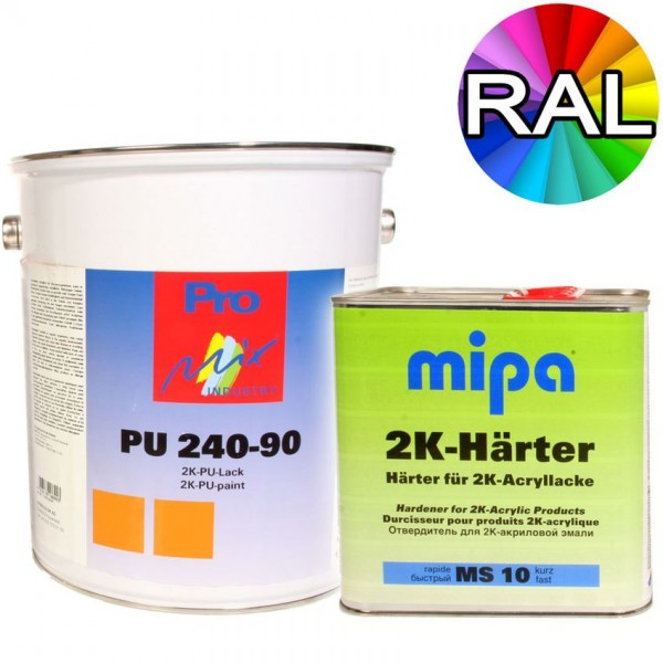 Mipa 2K Acryllack Set PU240 inkl Härter MS10 alle RAL Farben